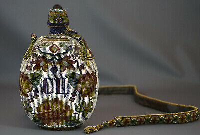 1918 WWI Trench Art Soldier Canteen Flask GLASS BEADED BEADWORK BOTTLE Roses