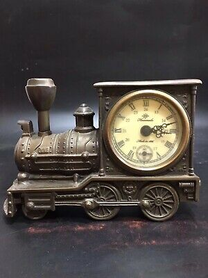 Chinese Old copper handmade train Mechanical clock table Home decoration