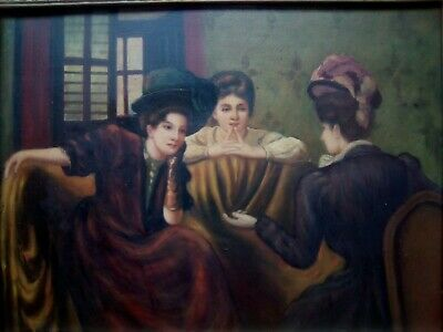 Fine Edwardian interior discussion of three seated ladies, ANTIQUE OIL PAINTING