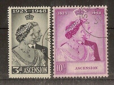 Ascension 1948 Royal Silver Wedding Pair SG50-51 Fine Used Cat£50