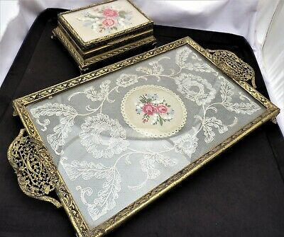 Vintage Petite Point Tray & Trinket Box - Lace Embroidery