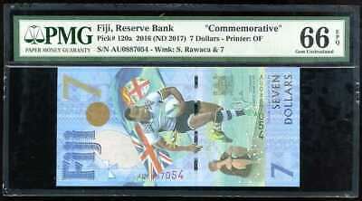 Fiji 7 Dollars Nd 2016 / 2017 P 120 Gem Unc Pmg 66 Epq