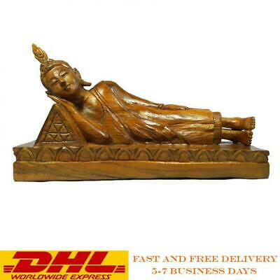 """Teak Wood Wooden Buddha Reclining Sleeping Statue Large Hand Carved Antique 12"""""""