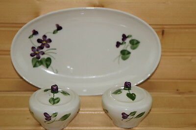 "Orchard Wood Violet Relish Dish, 8¼"" & Salt & Pepper Shakers w/New Stoppers, 2"""
