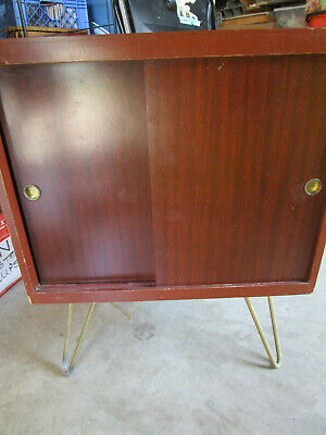 Vtg MID CENTURY MODERN Albums RECORD CABINET /  SIDE TABLE / BAR 18x18 /Legs