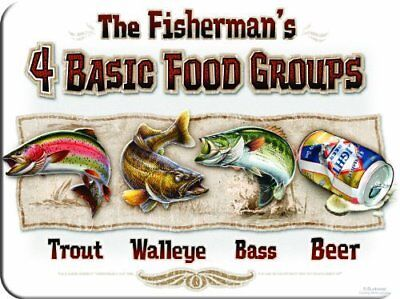 """Fisherman""""s 4 Basic Food Groups Cutting Board Tempered Glass Trout Bass Beer"""