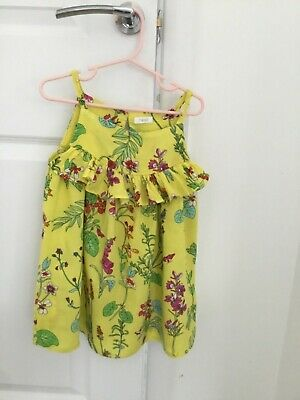 Little Girls Yellow Floral Dress - Age 3 - Next - Worn Excellent Condition