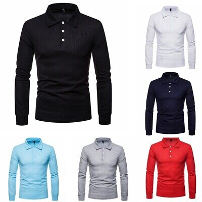New Mens Long Sleeve Polo Shirt Casual Formal Slim Fit Business Work Tops Tee