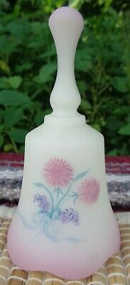 Hand Painted Thistles FENTON custard cranberry glass BELL not signed A. SALLEE