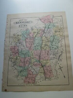1894-1895 ANTIQUE MAP, STUART'S MAINE ATLAS, KENNEBEC COUNTY,  and AUGUSTA