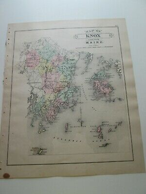 1894-1895 ANTIQUE MAP, STUART'S MAINE ATLAS, KNOX COUNTY and ROCKLAND