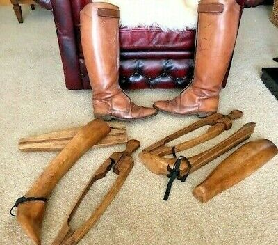 Antique vintage leather riding boots/ possible ww2 flying boots, with trees