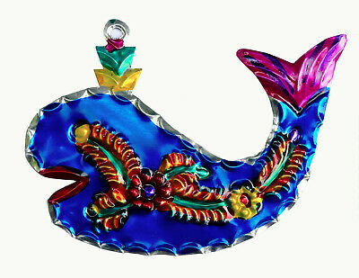 Whale Hand-Punched Tin Ornament | Marine Life | Colorful Mexican Folk Art Mexico