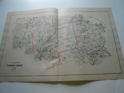 1894-1895 Antique Map, Stuart's Maine Atlas, Timber Lands #2, #3, & #4.