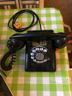 Vintage 1940's Western Electric Bell Systems Black Rotary Dial Telephone Black