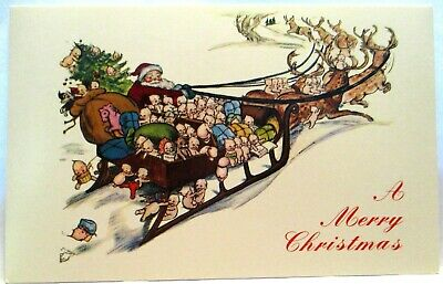 1980 Postcard Merry Christmas,Santa Claus With Sled Loaded With Kewpie Babies