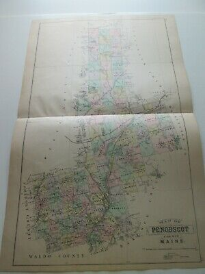 1894-1895 Antique Map, Stuart's Maine Atlas, Penobscot Cty, Old Orchard Beach+++