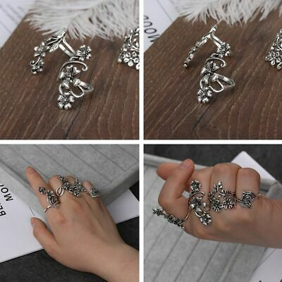 Vintage Women Ring Set Ancient Silver Big Flower Leaf Midi Finger Knuckle