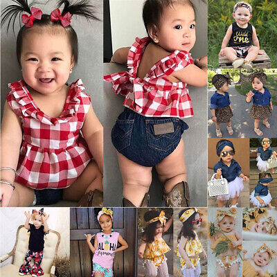 Girls Headband T-shirt Vest Tops Shorts/Pants Baby Outfit Sets Denim T-shirt