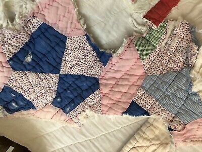 Primitive Vintage Quilt Pieces-4