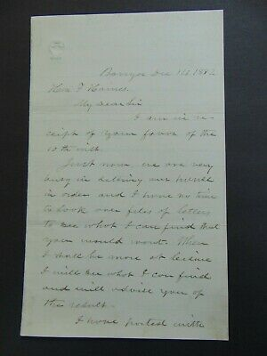 c.1882 AUTOGRAPH LETTER SIGNED by HANNIBAL HAMLIN About ABRAHAM LINCOLN