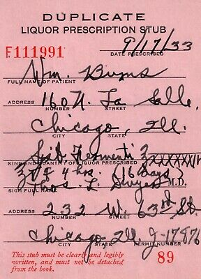 Prohibition Prescription Vintage Doctor Dwyer Stub Chicago IL Burns 9/19/33 Bar