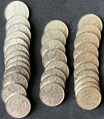 Lot of 31 Canada 5 Cent Nickels - Dates: 1922, 1923, 1924, Great Condition Coins
