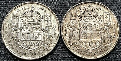 1941 & 1942 Canada Silver 50 Cent Half Dollar Coins - Great Condition