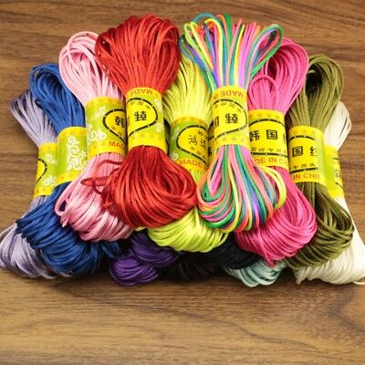 20M 1.5mm Nylon Braided Shamballa Kumihimo Macrame Thread Satin Cord Rope Sting