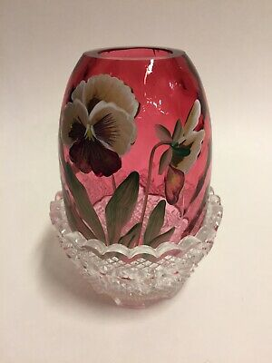 Fenton PANSY FAIRY LIGHT Diamond Cranberry Glass Hand Painted Signed By Artist