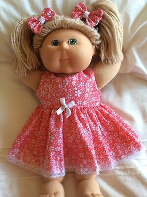 "DOLLS CLOTHES - DRESS & BOWS to fit 16"" CABBAGE PATCH ~ Red Small White Flowers"