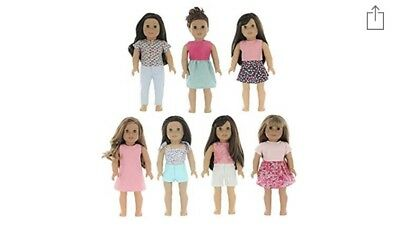 PZAS Toys 7 Outfit Set, Compatible with American Girl Doll Clothes 18 Inch Doll