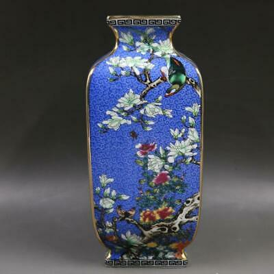 Chinese ancient antique hand make colour enamel Flower and bird vase w63