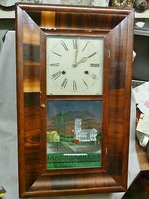 american antique wall clock pre 1861 jerome + co 30 hr ogee greenwood cemetery