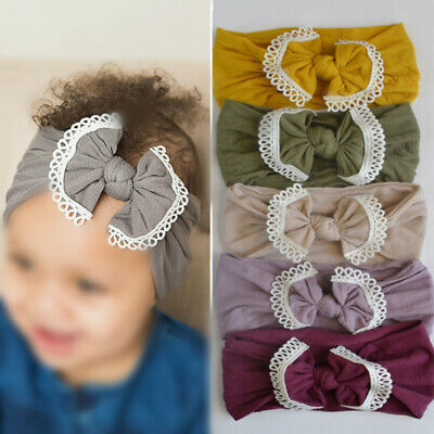 Baby Kids Girl Headband Bowknot Lace Hair Band Head Wrap Accessories 21 Colors