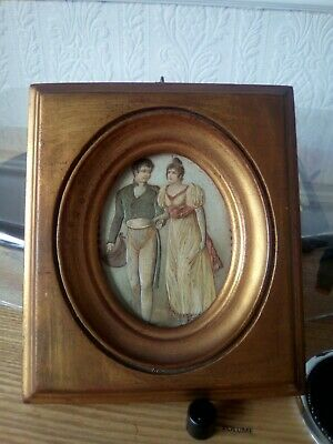 Late 19thc miniature gilt wooden frame for portrait miniatures with georgian duo