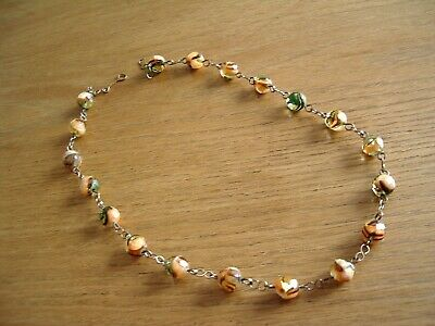 Vintage Art Deco Rolled Gold And Orange / Green Glass Bead Necklace.
