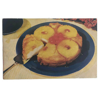 Vintage 1940s Post Card Hawaiian Dole Pineapple Upside Down Cake Recipe Wartime