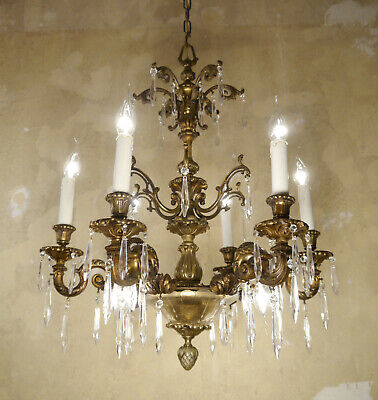 Antique Old Spanish Bronze Chandelier Vintage Lamp Brass Ceiling Lamp 9 Light
