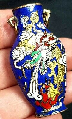 Antique Miniature Chinese Cloisonne Vase, Dragon Chasing Flaming Pearl c 1930