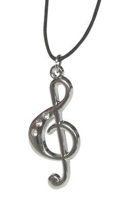 Pendant Necklace Treble Clef Steel Silver with Stones Glossy
