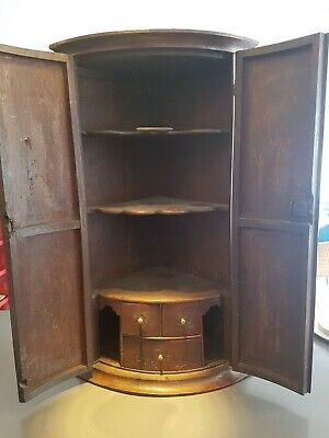 Antique English OAK corner cupboard cabinet CURVED FRONT 18TH century c.1760