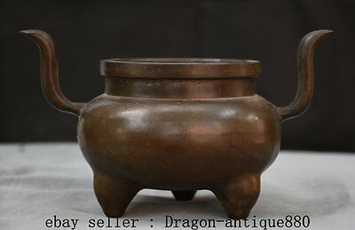 """9"""" Old Chinese Dynasty Palace Bronze 3 Foot Handle incense burner Censer Marked"""