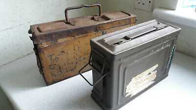 2 X Vintage Ww2 Military Metal Ammunition Boxes - One Stamped Kast 41 F