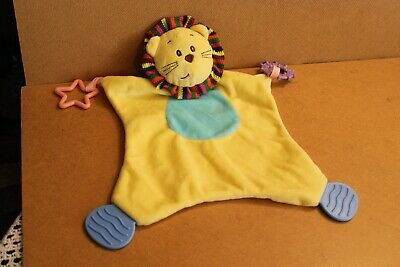 TJM Yellow Lion Blankie Comforter Hug Blanket Soft Toy Rattle Teether