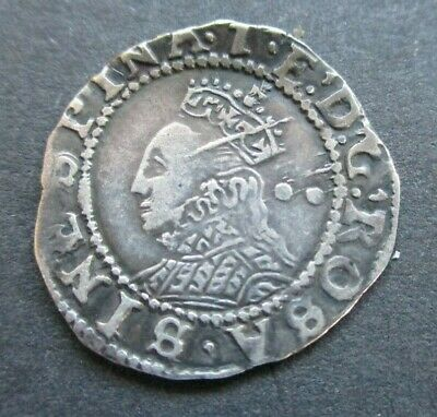 Elizabeth I Hammered Silver Half Groat, Twopence, Coin - Two Pellets Behind Head