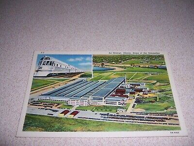 1940 HOME of the STREAMLINE TRAIN LA GRANGE IL. LINEN POSTCARD, BURLINGTON ROUTE