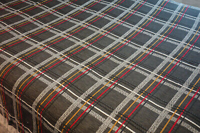 Vintage BATES Mid Century Modern Plaid Bedspread Twin Charcoal Red White Yellow