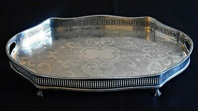 Lovely Large Vintage Silver Plated Chased Ball & Claw Footed Gallery Tray