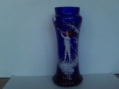 Antique Victorian Mary Gregory blue glass vase